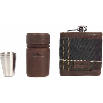 Barbour Tartan Hip Flask and Cups in Gift Box Set